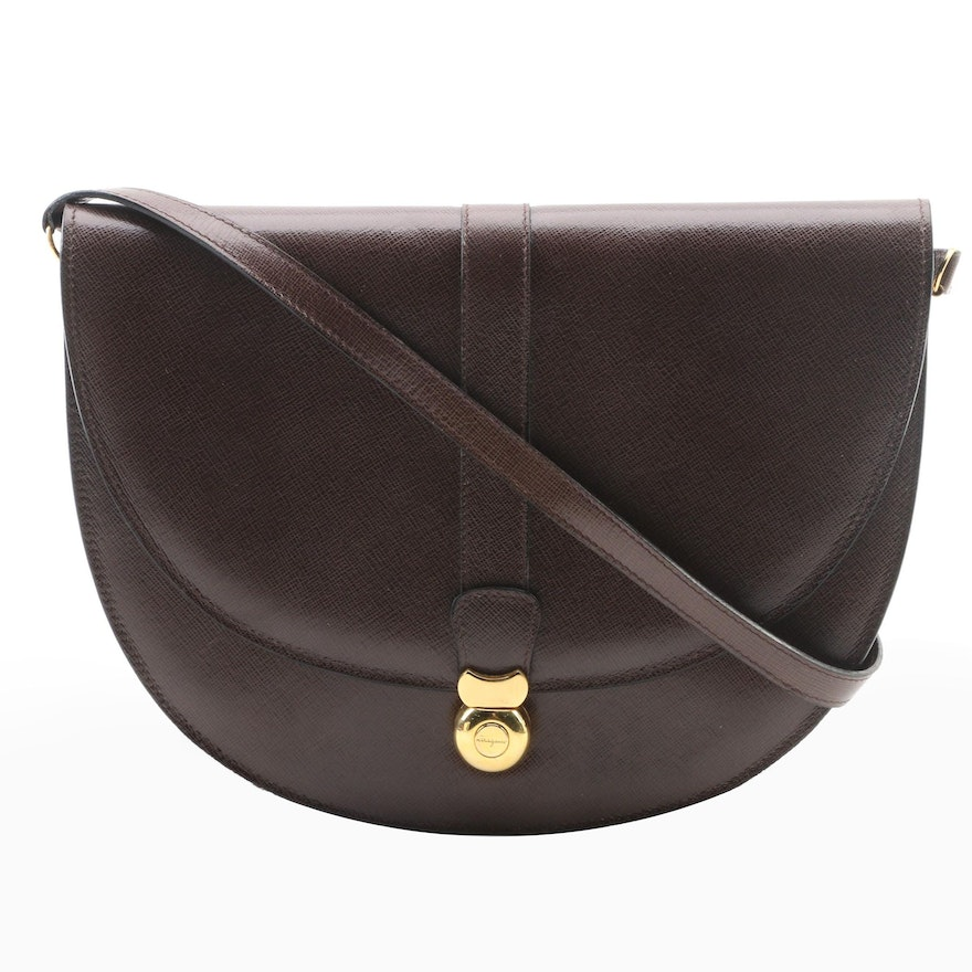 Salvatore Ferragamo Firenze Dark Brown Cross Grain Leather Crossbody Bag