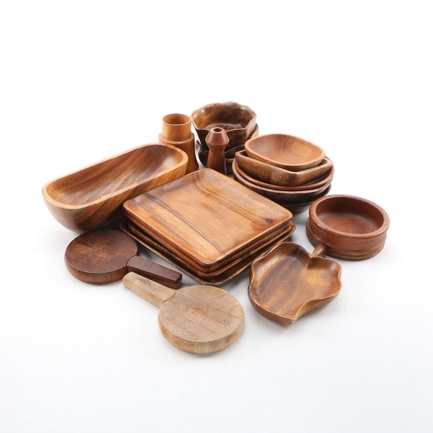 Boltalite, Teak, Palm, Acacia Wood Carved Bowls, Platters, with Dansk Spreaders