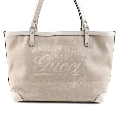 "Gucci ""Love The Earth"" Canvas and Bone Leather Tote Bag with Accessories Pouch"