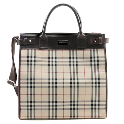 "Burberry ""House Check"" Two-Way Tote Bag with Leather Trim"