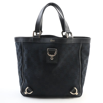 Gucci Abbey GG Black/Dark Blue Canvas and Leather Tote