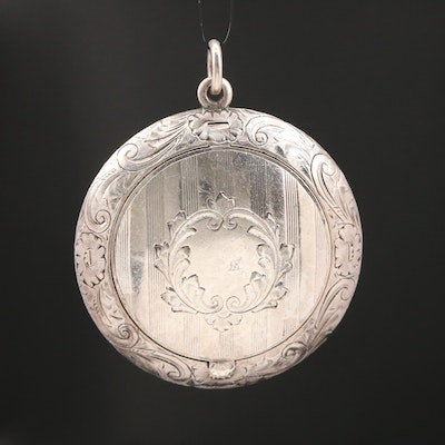 Circa 1915 Battin & Co. Sterling Engraved Compact Pendant with Mirror