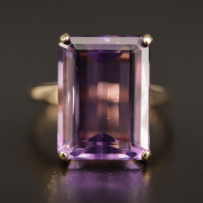 14K 10.80 CT Amethyst Solitaire Ring