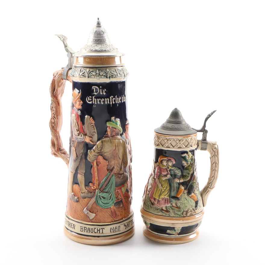 German Stoneware and Pewter Beer Stein and Musical Stein