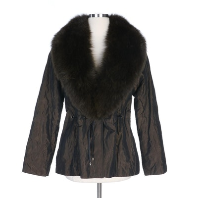 Alberto Makali Tie-Waist Jacket with Dyed Fox Fur Collar