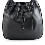 Gucci Black Leather Drawstring Hobo Bag