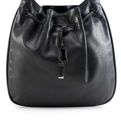 Gucci Black Leather Drawstring Hobo Bag