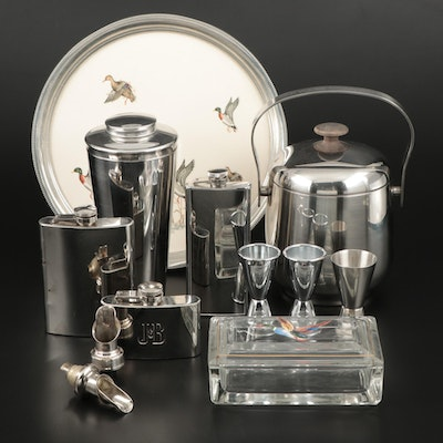 Stainless Steel Ice Bucket, Shaker, and More with Duck Tray and Trinket Box