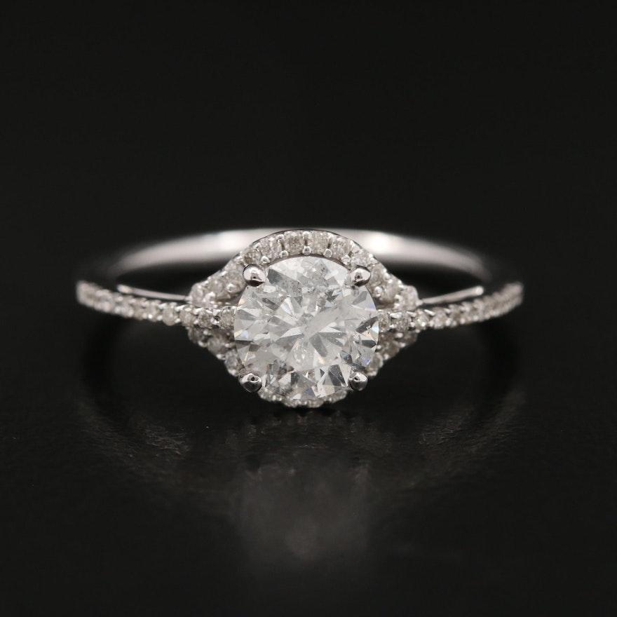 14K 1.06 CTW Diamond Ring with Halo
