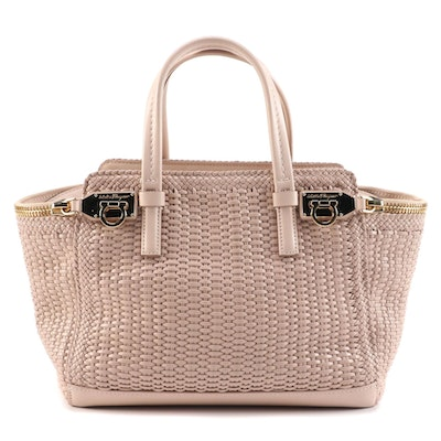 Salvatore Ferragamo Mini Verve Tote Bag in Bisque Woven Calfskin Leather