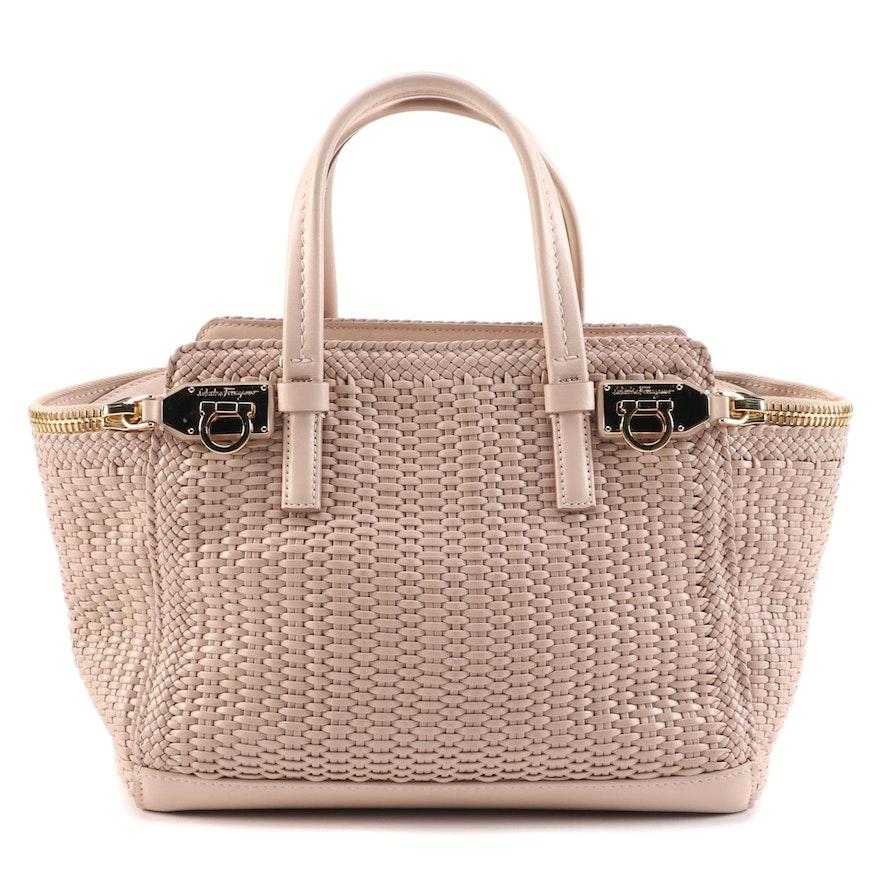 Salvatore Ferragamo Mini Verve Tote Bag in Bisque Woven Calfskin Leather