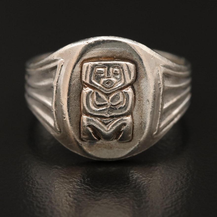 900 Silver Motif Ring