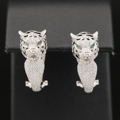 Sterling Silver Cougar Head Earrings Featuring Enamel Accents