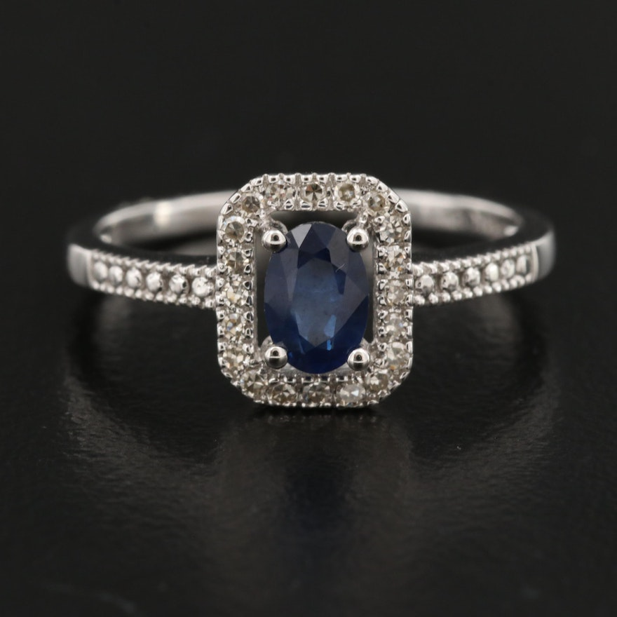 14K Sapphire and Diamond Ring with Halo