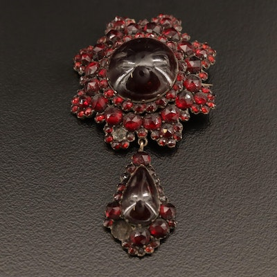 Victorian Bohemian Garnet Brooch with Drop