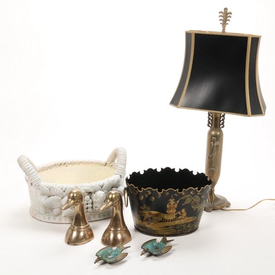 Brass Bookends and Dishes with Table Lamp and Baskets