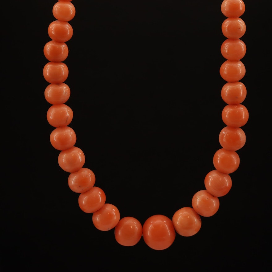 Vintage Graduated Coral Necklace with 14K Clasp