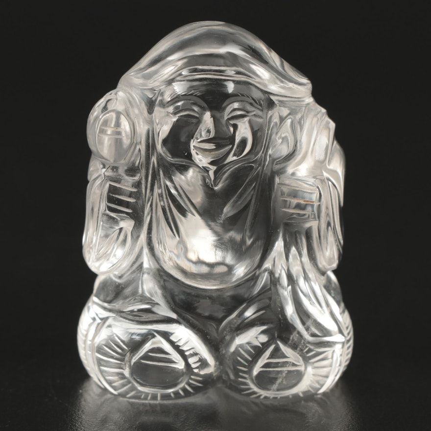 Carved Quartz Buddha Figurine