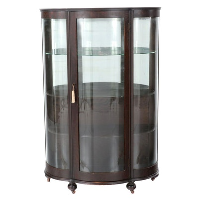 Late Victorian Oak Bowfront Glass China Cabinet, Early 20th Century
