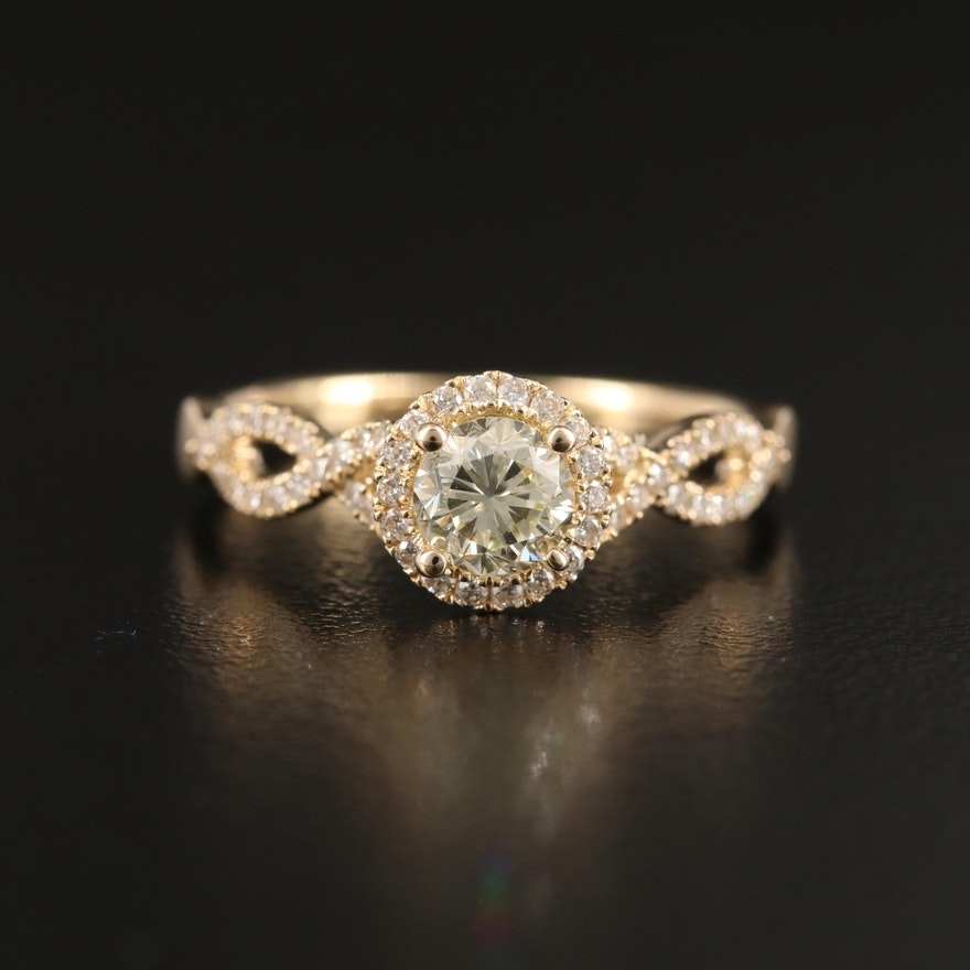 14K Diamond Halo Ring with Twist Shank