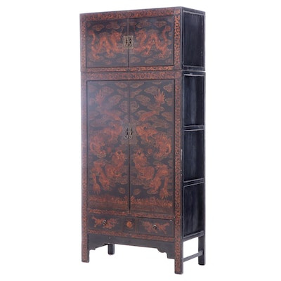 Chinese Ebonized and Gilt-Decorated Compound Cabinet