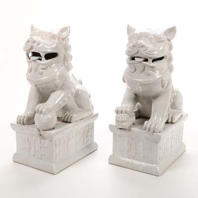 Chinese Porcelain Guardian Lions