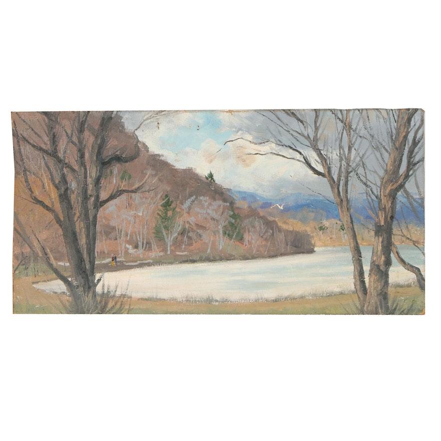 Joseph Di Gemma Lake Landscape Oil Painting