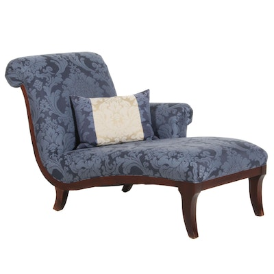 "Baker Furniture ""Milling Road"" Damask Upholstered Chaise, 21st Century"
