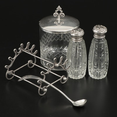 Wilcox Sterling Silver Pen Rack with Sterling Silver and Glass Table Accessories