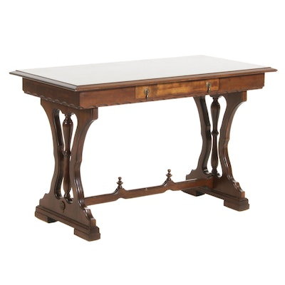 Walnut Late Victorian Style Library Table, Mid 20th Century