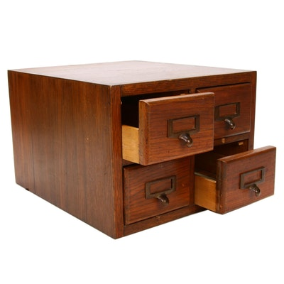 Dovetailed Oak Card Catalog Cabinet with Drawers