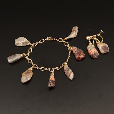 Gold Filled Agate Bracelet and Non-Pierced Earring Set