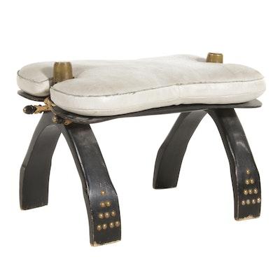 Egyptian Leather Camel Saddle Stool, Mid 20th Century