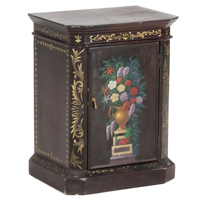 Painted Black Cabinet with Floral Decoration, Late 20th Century