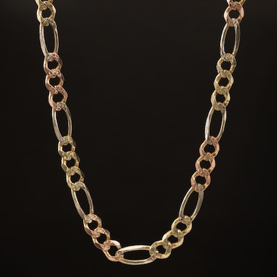 14K Tri Color Figaro Link Necklace