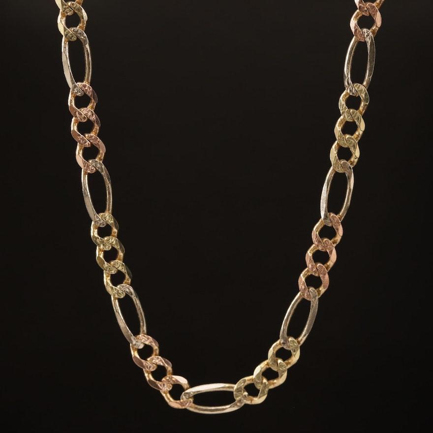 14K Tri Color Figaro Link Necklace