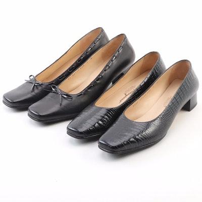 Salvatore Ferragamo Square Toe Pumps in Black Leather