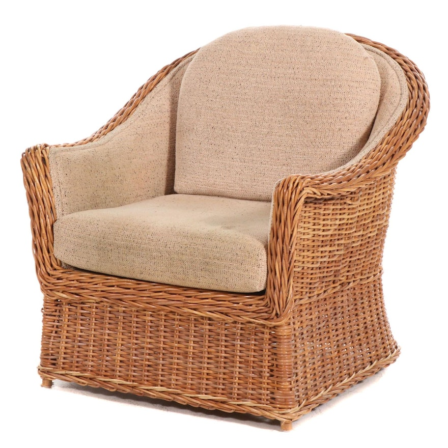 Walters Wicker Armchair with Chenille Upholstery, 21st Century