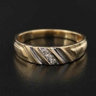 14K Diamond Slant Detail Band
