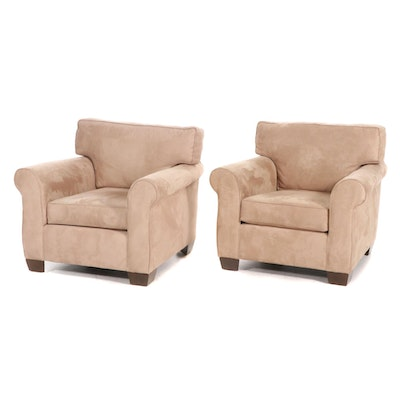 Pair of Tan Ultrasuede Upholstered Armchair, 21st Century