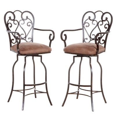 Pair of Minson Corporation Metal Frame Barstools with Microsuede Upholstery