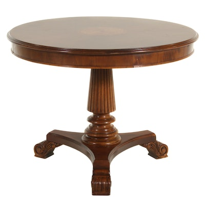 Charles X Style Mahogany Marquetry Center Table, Late 20th Century