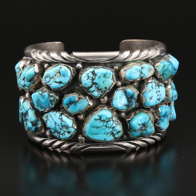 Cecil Lee Navajo Diné Sterling Silver Turquoise Cuff