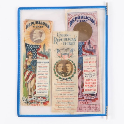 """Republican Ticket"" Campaign Ribbons and Paper Ephemera, Early 20th Century"