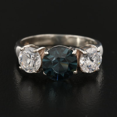 Sterling Silver Faceted Glass Ring