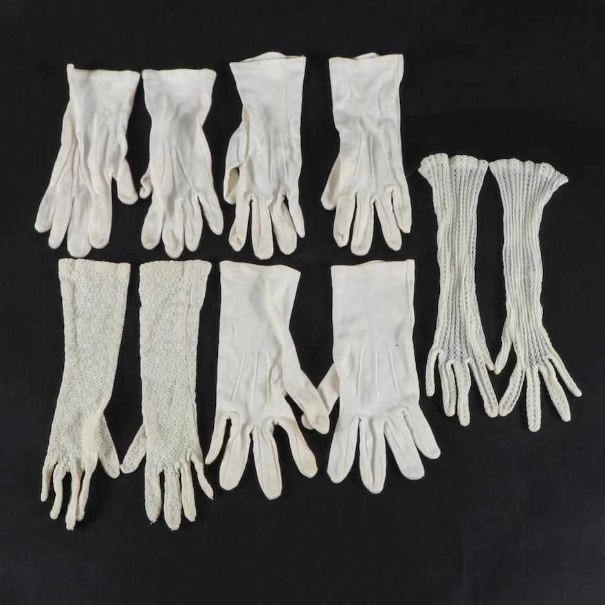 Vintage Lace and Cotton Gloves