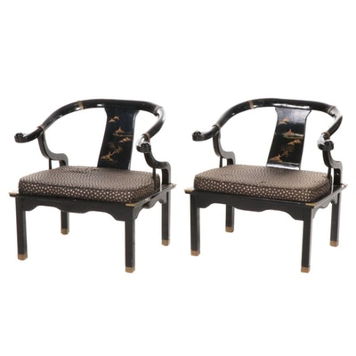 Pair of Chinese Black Lacquer Altar Chairs, Late 20th Century