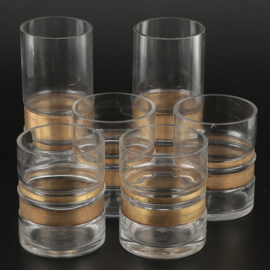 Gold Tone Metal Banded Glass Hurricanes