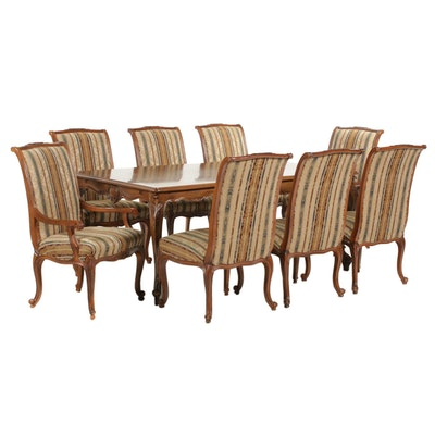 Bau Furniture Louis XV Style Olive Burl  Dining Table with Chairs, 21st Century