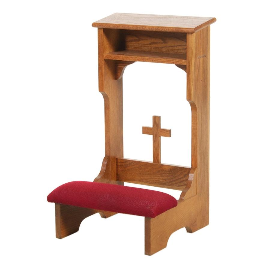 Morgan Mfg. Co. Oak Padded Prie Dieu Prayer Bench, Mid to Late 20th C.